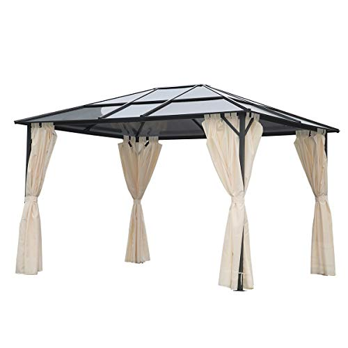 Angel Living 3 x 3.6M Patio Aluminium Metal Gazebo Hardtop Roof Garden Pavillion Tent with set of 4 Side Walls
