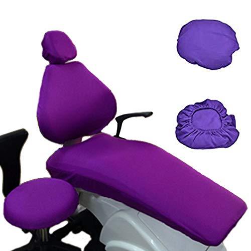 BIUYYY Dental Unit Stoffstuhl Abdeckung, Elastisch Schutzhülle Kopfstütze Rückenlehne Schutz Zahnarzt Ausrüstung, 4 Teile/Satz, lila