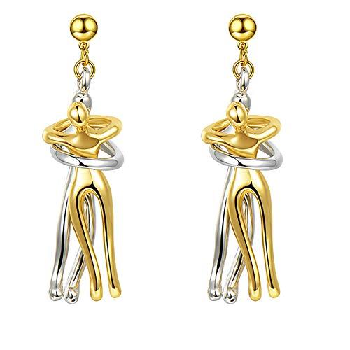 Hunpta - Pendientes colgantes para mujer, diseño de pareja, color dorado