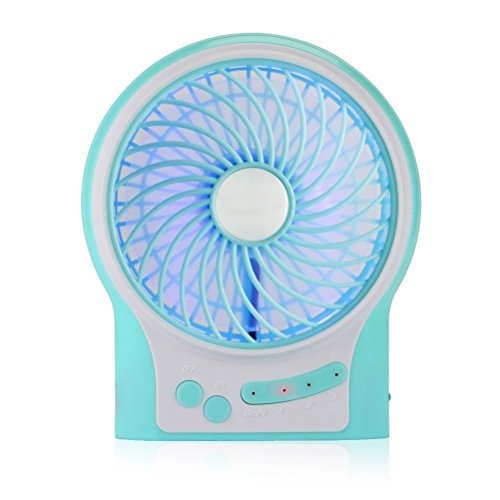 Vicloon Pulsante Ventilatore Ricarica Mini USB Ricaricabile Pianoforte Ventilatore a 3 Velocità di 4 Pollici con Silenziosa luce Decorativa Blu,Oppure Utilizzando la Batteria