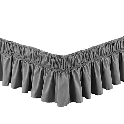 Huanxa Bettumrandung, elastisch, Staub-Rüschen, einfache Passform, faltenresistent, seidig, luxuriöser Stoff, einfarbig, 38,1 cm, Polyester, grau, FULL:135*200Cm