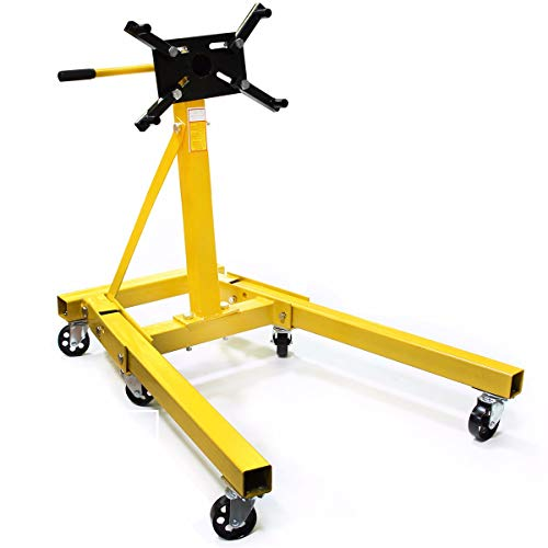 XtremepowerUS 2000lb Foldable Engine Stand Folding Motor Hoist Dolly Mover Auto Repair Rebuild Jack Rotating Engine Head, Yellow