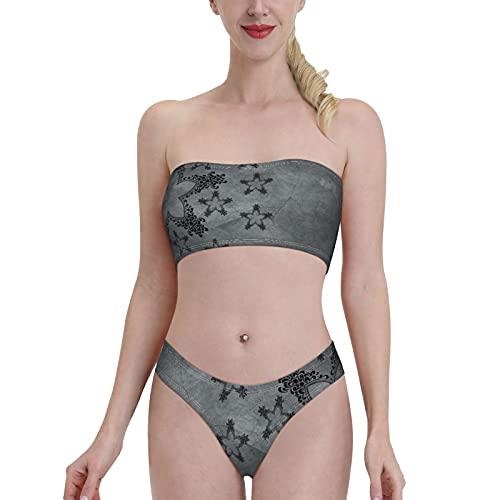 Costume da bagno da donna a fascia in 2 pezzi, con imbottitura morbida rimovibile sul petto e spalle scoperte, Nero , S/XXL