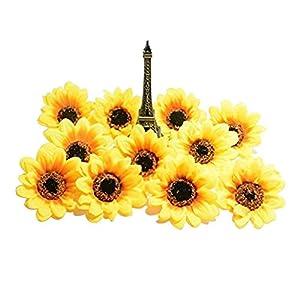 SallyFashion Artificial Flowers Heads/Gerbera Daisy Flowers Heads/Silk Sunflowers Sun Flower Heads for DIY Wedding Party (2.8″,25 pcs)
