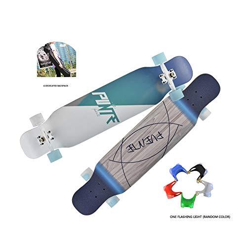 JMG Complete Skateboard Twin Tip Longboard Monopatín De Madera Natural Retro De La Manera Plana De La Placa De Balancín Doble Patines Personalizados,Blue Sky