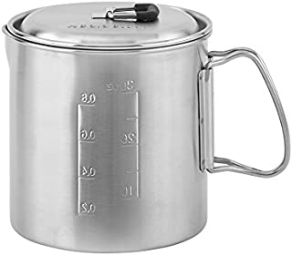 Solo Stove Solo Pot 900 - Lightweight Stainless Steel Backpacking Pot | Boil Water Quickly | Volume Markings and Pour Spout