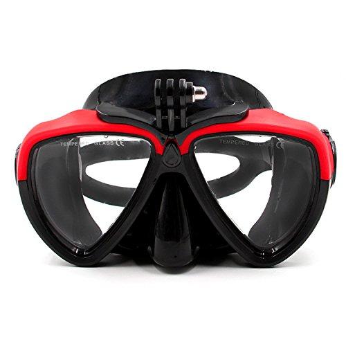 Gafas de buceo de silicona, rojo y negro, con soporte desmontable con rosca para cámara GoPro HD Hero 2,3,3+ y 4, Xaoumo Yi, de Jeerui