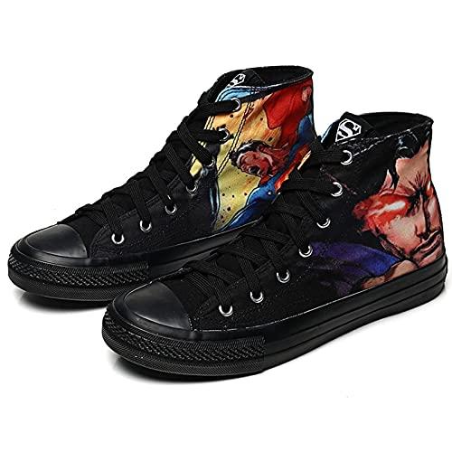 NBAOK Justice Lea/GUE Batman Superman Anime Chaussures Décontractées Étudiants Chaussures à Lacets Hauts Baskets Extérieures