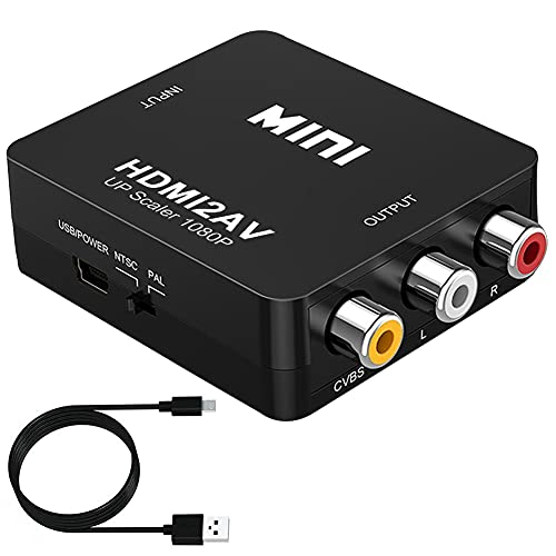 HDMI a AV Convertitore Adattatore, HDMI to RCA, 1080P HDMI a AV 3RCA CVBS Convertitore Video Composito con Supporto PAL / NTSC, Convertitore di Segnale con Cavo di Ricarica USB per TV PC Laptop