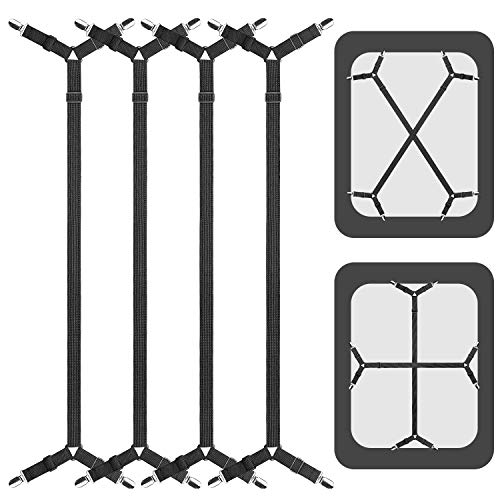 ACEDÉCOR Bed Sheet Suspenders, 4 Pcs(2 Set) Adjustable Bed Sheet Holder Straps Fitted Sheet Clips Keeping Sheets Place, Black