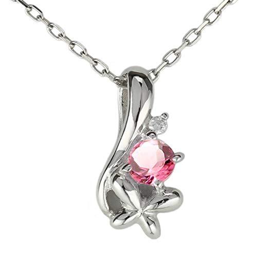 [リュイール ドゥージエム] ピンクトルマリン ピンクゴールド K18 誕生石 ダイヤモンド 一粒 フラワー 花 ネックレス レディース