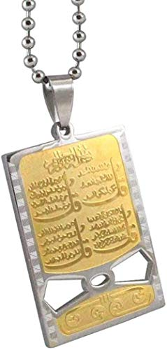 LKLFC Necklace Women Necklace Men Necklace 316L Stainless Steel Muslim Four Pendant Necklace for Men Women Charm Islam Gift Chain Pendant Necklace Girls Boys Gift