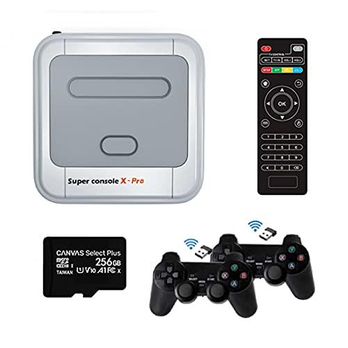 Omera Consola de videojuegos X-Pro, juego clásico retro construido en más de 50.000 con tarjeta SD de 256 GB y 2 gamepads inalámbricos, consolas de juegos para TV 4K compatible con salida HD/AV