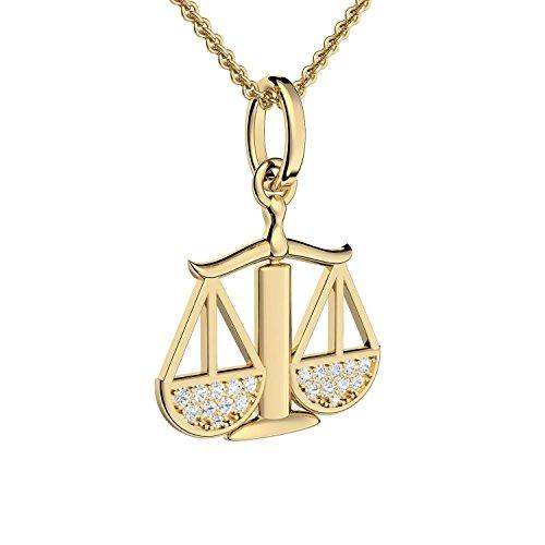 Waage Anhänger Sternzeichen Anhänger Waage Gold hochwertig vergoldet - inkl. Luxusetui + - Sternzeichen Kette Waage Zirkonia Steine Horoskop Schmuck Sternzeichen FF18 VGGGZIFA45