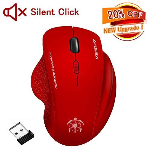 AKSEA Kabellose Maus, Leise klick 2.4G in voller Größe Kabellose Optische Ergonomische Maus Kabellos,6 Tasten Maus mit USB Empfänger für PC/Laptop/Android Tablet (Rot)