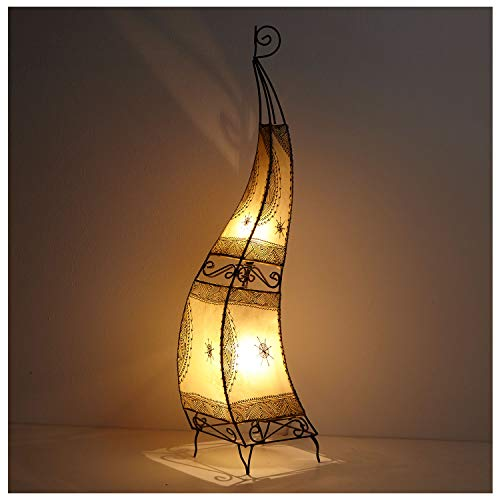 Orientalische Hennalampe marokkanische Stehlampe Ibis H120 cm Natur | Kunsthandwerk aus Marrakesch | Handbemalte Lederlampe handgefertigte Hennaleuchte aus echtem Leder | L1019