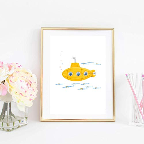 Din A4 Kunstdruck ungerahmt Uboot mit Fischen U-Boot Kinderzimmer Badezimmer Aquarell Gelb Blau Druck Poster Bild