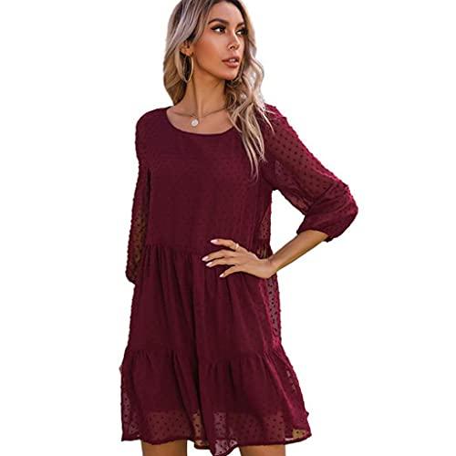 6Wcveuebuc Mini vestido de manga tres cuartos para mujer, de color sólido, con lunares suizos, plisados, volantes acampanados, casual, sueltos, para la playa
