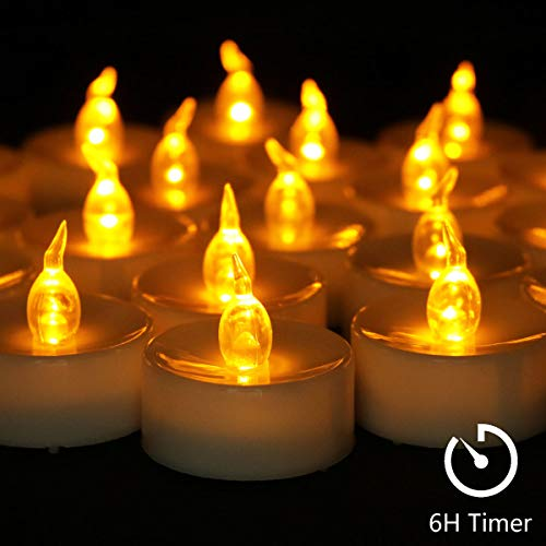 Cozeyat 12pcs Tea Lights Led Timer 6 Hours Battery Operated Mini Candles, Long Lasting Timed Tealights Flickering Yellow for Wedding Reception Christmas Party Holiday Home Kitchen Church Decorations