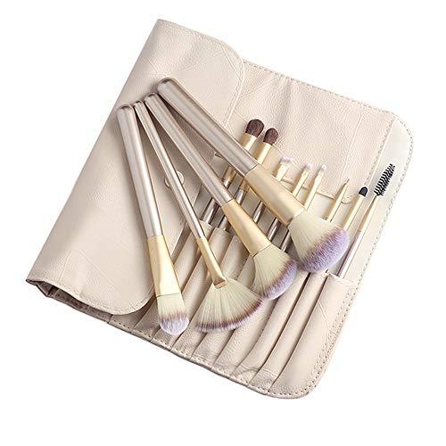 Pinceau de maquillage ensemble 12 cheveux cheveux animaux ensemble complet de l'outil pinceau de fard à paupières, beige