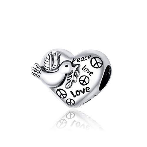 HLWJ Hundido Plata de Ley 925 del corazón en Forma de Granos del Encanto Conveniente for Las Pulseras del Encanto DIY Original de joyería de Plata (Color : CQC1580)