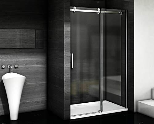 Aica Sanitär Duschabtrennung Duschtür 6mm glas Schiebetür (105cm,H195cm)
