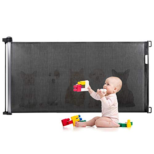 Türschutzgitter, Eccomum Treppenschutzgitter treppengitter für Babys und Haustiere(0-140 cm), Einstellbare Geschwindigkeit, Absperrgitter Ausziehbar Treppe, Geeignet für Innen und Außenbereich,schwarz