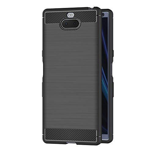AICEK Coque Sony Xperia 10, Noir Silicone Coque pour Sony Xperia 10 / Sony Xperia XA3 Housse Fibre de Carbone Etui Case (6,0 Pouces)