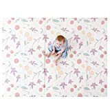 """JumpOff Jo – Large Waterproof Foam Padded Play Mat for Infants, Babies, Toddlers, 8+ Months – for Play & Tummy Time – 70 in. x 59 in. – Double-Sided Design: """"Magical Friends"""" Fairy Blossoms"""