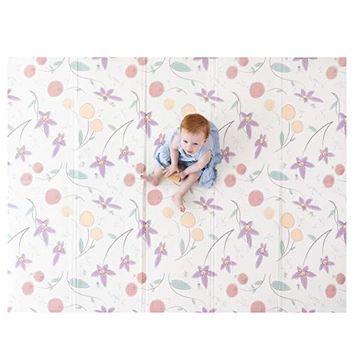 "JumpOff Jo – Large Waterproof Foam Padded Play Mat for Infants, Babies, Toddlers, 8+ Months – for Play & Tummy Time – 76 in. x 58 in. – Double-Sided Design: ""Magical Friends"" Fairy Blossoms"