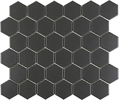 "1 Carton/10 SQFT - 2"" Hexagon Mosaic Tile, Black (Matte)"