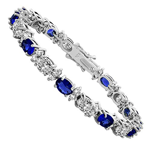 SHKA 925 Sterling Silver Polished Oval Ruby Emerald Sapphire and Cubic Zirconia Women's Link Tennis 7 Inch