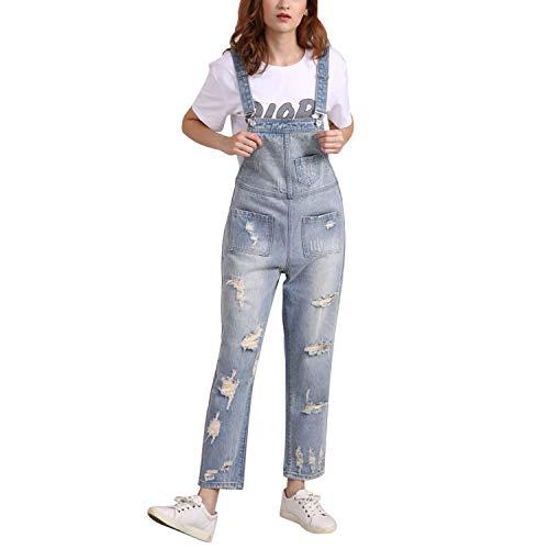 LAEMILIA Latzhose Damen Hose Latzhose Denim Jeansoptik Klasse Vintage Jeans Lang Lässig Baggy Boyfriend Stylisch Overall Jumpsuit (EU 48-50=Tag 5XL, Hellblau-09)
