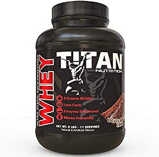 Titan WHEY Premium Whey Protein Powder for Improved Muscle Recovery with 23 Grams of Clean Whey Protein |BCAA and Digestive Enzymes| (Devils Food Cake, 5 lb)