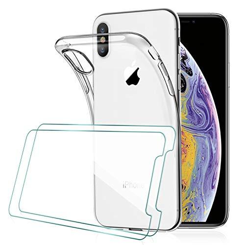 [2 Pack] KEEPXYZ Protecteur d'écran pour iPhone X, iPhone XS Verre Trempé + Coque pour iPhone X, iPhone XS Silicone Transparent TPU Bumper Housse Souple Case + Verre Trempé pour iPhone X, iPhone XS