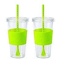 Copco Sierra Iced Beverage Tumbler Cup Straw Lid BPA Free Plastic 24 Oz Hot Pink