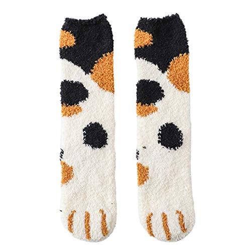 Invierno Gato Calcetines Mujeres Invierno Fuzzy Fluffy Caliente Pantuflas Calcetines Lindo Gato Pata Suelo Dormir Medias