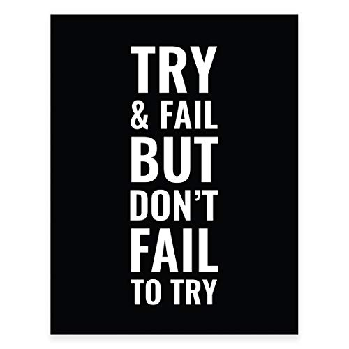 Andaz Press Gym Fitness Wall Art Collection, 8.5x11-inch, Try and Fail But Don't Fail to Try Poster Print, 1-Pack, Motivational Inspirational Classroom, Unframed