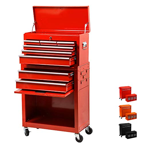 8 Drawer Rolling Tool Chest,Large Capacity Tool Box With 4 Wheels,Detachable Tool Storage Cabinet,Key Drawer,Sliding Metal Tool Organizer (Red)