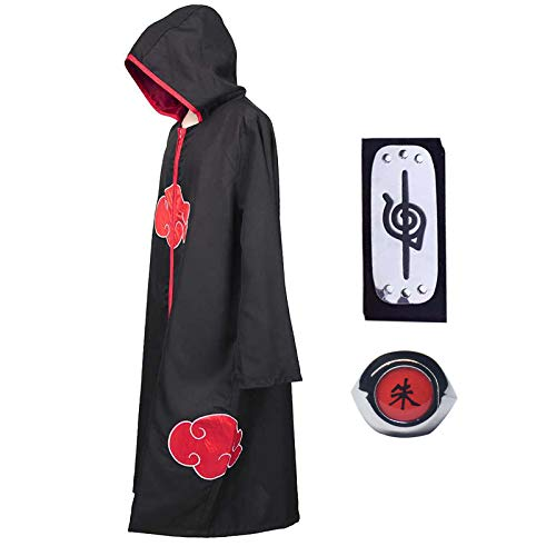 Noe Cosplay Naruto Disfraz de Itachi Uchiha Capa Larga del anime Naruto con Diadema de Naruto Leaf Village y Anillo de Naruto Akatsuki para fanáticos de Naruto Unisex, XL