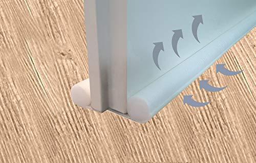Zugluftstopper zuschneidbar 96 cm Zugluftstop Luftzugstopper Türbodendoppeldichtung Türisolierung Windstopper Durchzug weiß/cremweiß