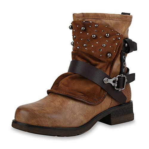 SCARPE VITA Damen Stiefeletten Biker Boots Leicht Gefütterte Stiefel Nieten 172406 Hellbraun Strass Leicht Gefüttert 36