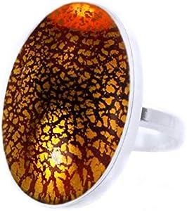 Cracked Ice Colección, Amarillo Cristal de Topacio Oro, la Plata, la Plata Esterlina 925 Oval Anillo Clásico, Tamaño 13, NOS 6.5, hechos a Mano BohemStyle