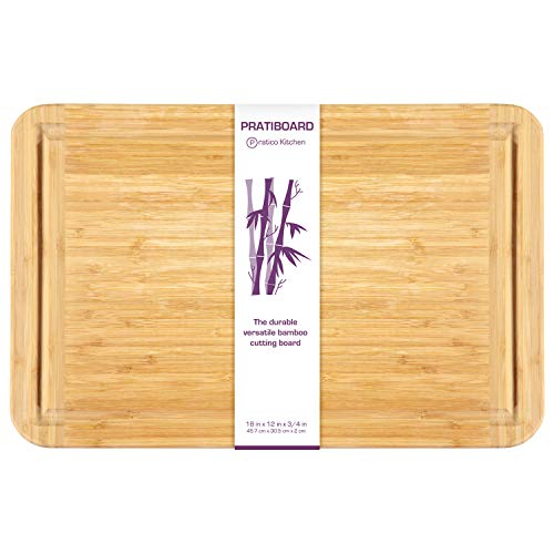 Bamboo Cutting Board and Serving Tray with Juice Groove - Extra Large 18 x 12 inches - Made Using Premium...