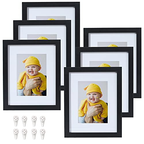 Yamiyo 8x10 Picture Frame Black with HD Glass,Display Pictures 5x7 with Mat or 8x10 Without Mat,Multi Photo Frames Bulk for Wall or Tabletop Display,Set of 6