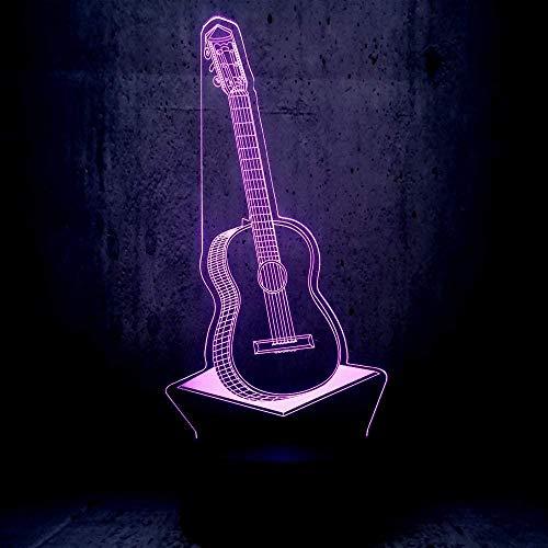 Música Guitarra Lámpara LED USB 3D 7 Cambio de color Luz de noche RGB Decoración de dormitorio Iluminación Instrumentos musicales