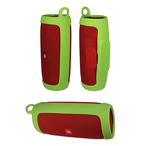 Durable Silicone Cover Carrying Case Sleeve Pouch for JBL Charge 3 Charge3 Speaker Extra Carabiner Offered (Sling Green)