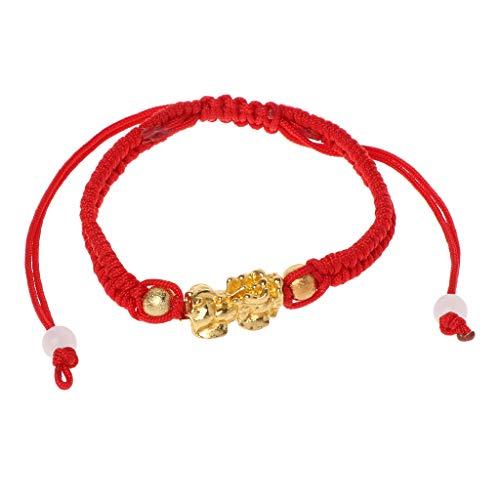 Joocyee Chinese Feng Shui Gold Pi Xiu Kabbalah Pulsera de Hilo Rojo Protección Ocular, Pulsera de Hilo Rojo Pixiu Chapado en Oro, Rojo