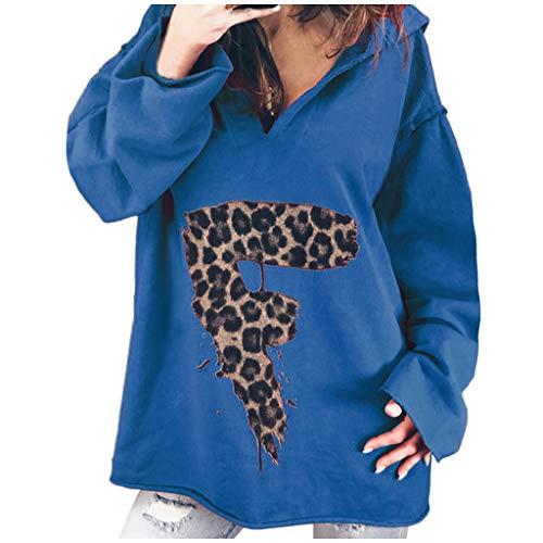 🍊Evansamp_Sweater Sweater for Women, Evansamp Damen-Herbstmode-Leoparden-Briefdruck Mit Monogrammiertem Kapuzenpullover Mit Kapuzenpullover-Oberteilen(Blau,S)