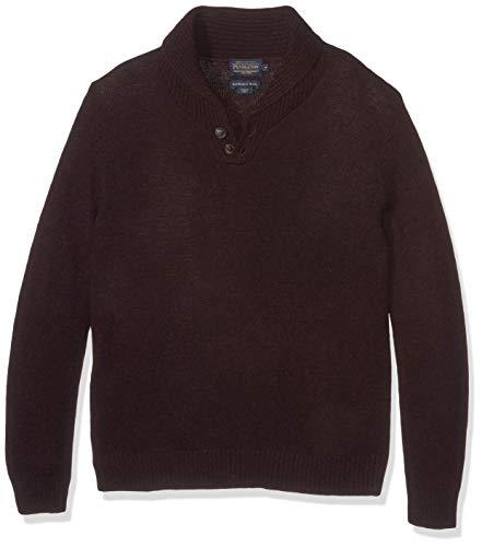 Pendleton Men's Shetland Shawl Collar Pullover Sweater, Merlot, LG